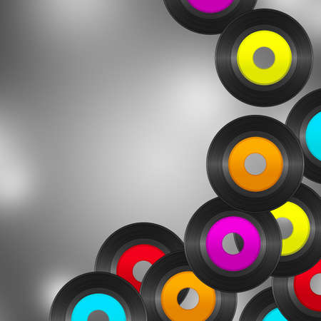 flying vinyl records with colorful empty labels