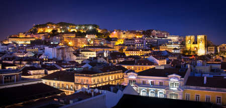 nightime: Beautiful nightime view of old downtown in the city of Lisbon, Portugal Stock Photo