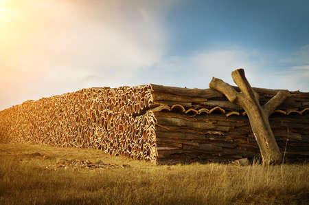 ポルトガルの自然な農村景観における生コルク木の樹皮の大きな山 写真素材