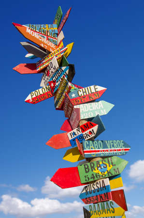 Many colorful wooden direction signs to far locatios