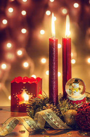 ambiance: Traditional Christmas decorations with a warm nostalgic ambiance