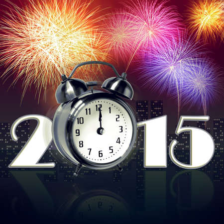 Jumping alarm clock at midnight of new year eve with fireworks photo