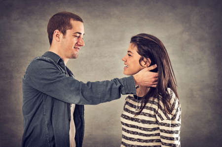 sweethearts: Couple of happy sweethearts in affectionate relationship