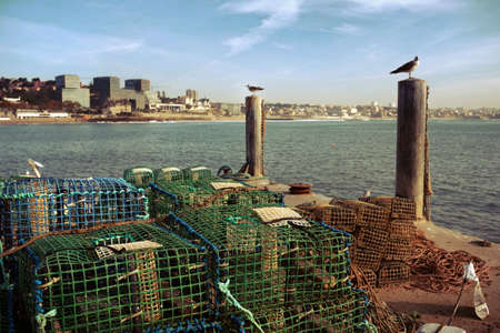 crab pots: Fishing traps in a port of Cascais, Portugal Stock Photo