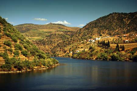 douro: Beautiful landscape of the Douro Demarcated Region. Stock Photo