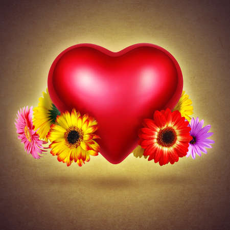 Red shining heart with colorful flowers hovering over textured yellow background photo