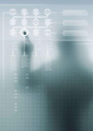 Affichage numérique futuriste avec un design de l'interface utilisateur et la silhouette humaine en arrière-plan