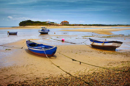 Four blue fishing boats in a beach with low tide photo