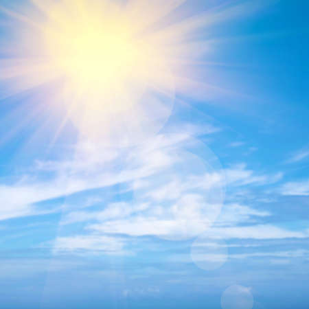 sunshine background: Heavenly blue sky with bright sunshine and light beams Stock Photo