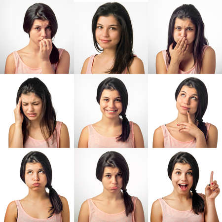 Collection of nine portrait with a girl in various facial expressions Stock Photo