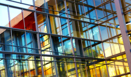 background of glass buildings in a office center of a modern city Archivio Fotografico