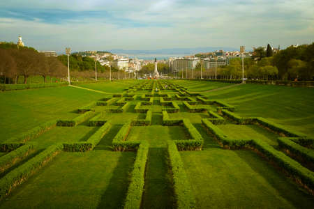 made in portugal: View of the gardens of Edward VII Park in Lisbon Portugal