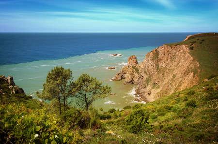 roca: Beautiful scenic of portuguese coastline in Roca Cape Stock Photo