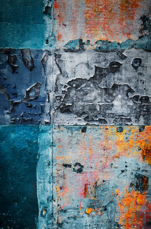 sheet metal: Old colorful rusty metallic surface with peeling paint and scratches
