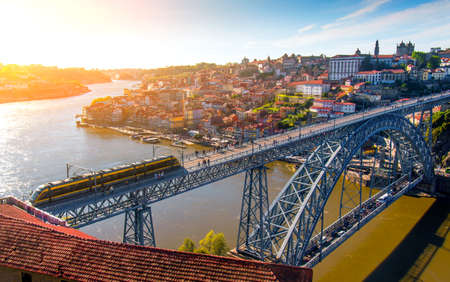 ribeira: Cityscape of Oporto downtown touristic Ribeira and D Luis Bridge