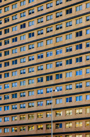 many windows: Detail of a big residential building with many windows on several flats