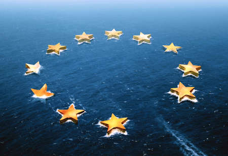 gb pound: Conceptual image representing a drifting European Union and an empty space left by the Brexit Stock Photo