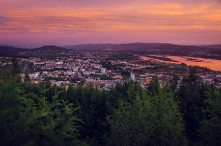 lima region: Panoramic view of the city Viana do Castelo in Portugal at sunset Stock Photo