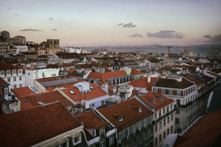 aereal: Aereal view of old Lisbon downtown in Portugal Stock Photo