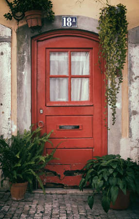 bica: Typical Lisbon old red door decorated with pots of plants in Bica Neighborhood