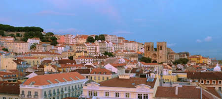 Panorama of Lisbon city with St George Castle and old cathedral