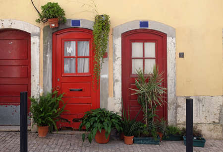 realestate: Typical Lisbon old red doors decorated with pots of plants in Bica Neighborhood Stock Photo