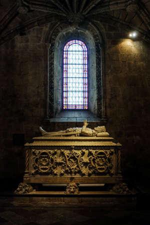 laureate: The tomb of Portuguese poet Luiz de Camoes in Jeronimos Monastery in Lisbon