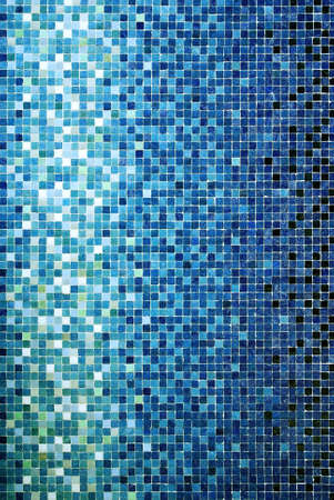 wall textures: Vertical background of little blue ceramic square tiles Stock Photo