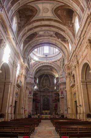 Main nave of Mafra Monastery in Portugal Stock Photo