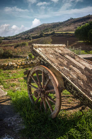 Old wooden wagon in a rural landscape in a sunny day