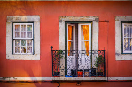 Typical balcony in Alfama, an old neighborhood in Lisbon, Portugal.