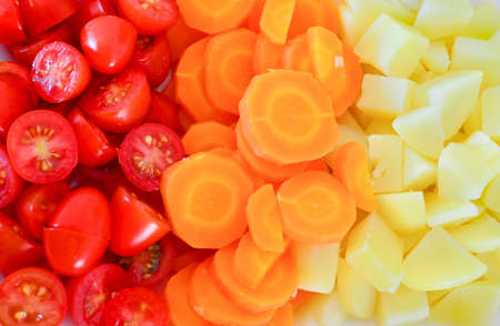Salad of tomatoes, carrots and chopped potatoes