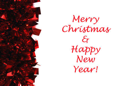 red garland with christmas and new years text isolated on white background