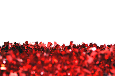 red garland isolated on white background close up Stock Photo