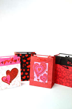 valentine gift bags isolated on white background