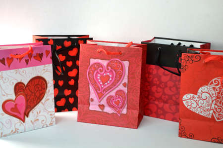 valentine gift bags isolated on white background close up