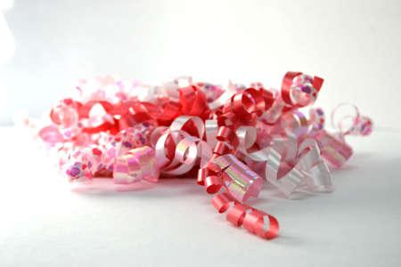 curly celebratory ribbon isolated on white Stock Photo