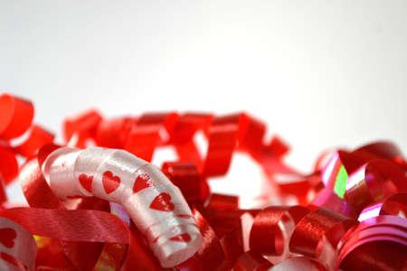 curly celebratory ribbon isolated on white close up Stock Photo