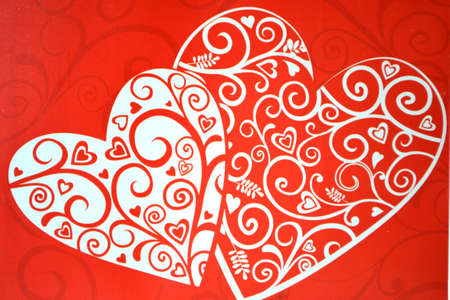 red and white decorative hearts Stock Photo