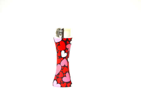 heart decorated lighter isolated on white background Stok Fotoğraf