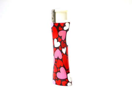heart decorated lighter isolated on white background close up Stock Photo - 12105628