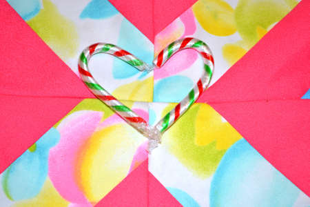 candy canes on patchwork