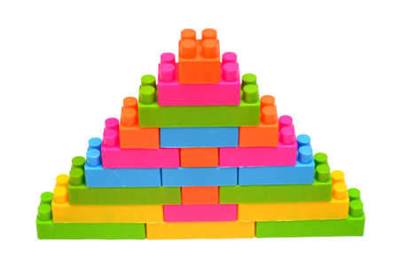 triangle of building blocks isolated on white background Stock Photo