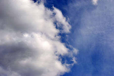 blue sky with fluffy white and gray cloud