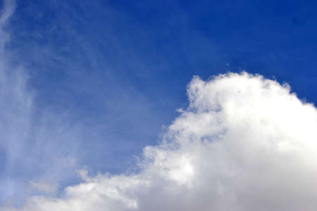 bright blue sky with fluffy white cloud