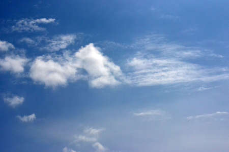 Beautiful blue sky with fluffy white clouds