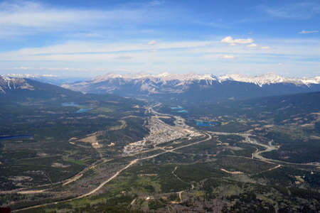 Aerial view of the town of Jasper in Jasper National Park in Alberta, Canada