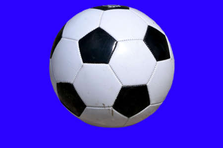 Soccer ball isolated on blue background Stock Photo