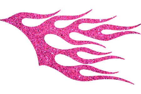 Pink glitter decorative flame isolated on white background