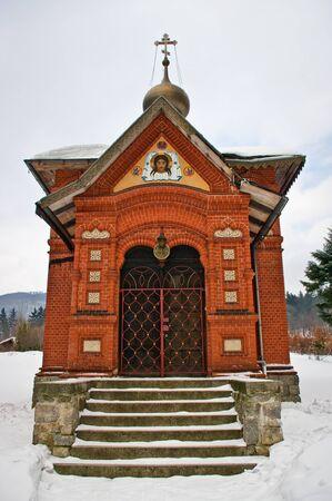 ortodox: Brick-red ortodox church  Stock Photo